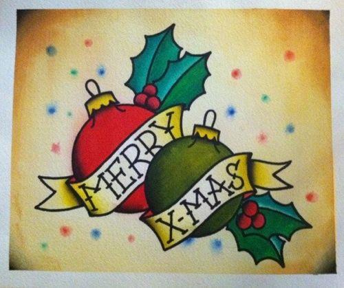 Merry X-mas tattoo design