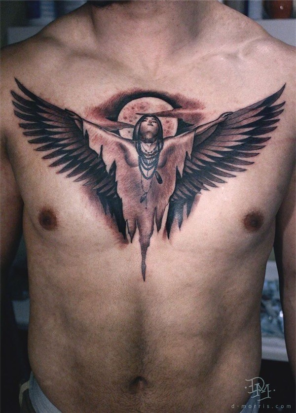 american tribal angel chest tattoo for men