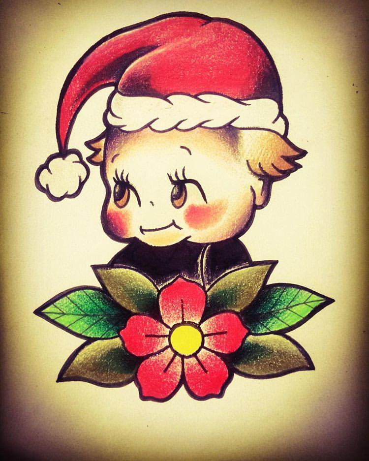 baby Santa Christmas Tattoo Design