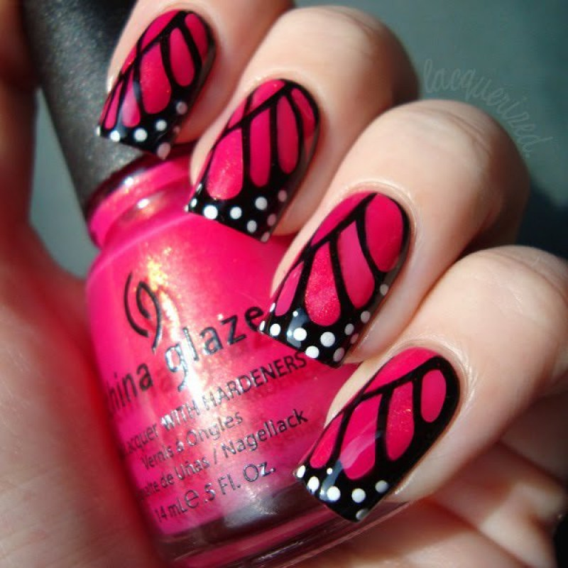 butterfly nail arts design