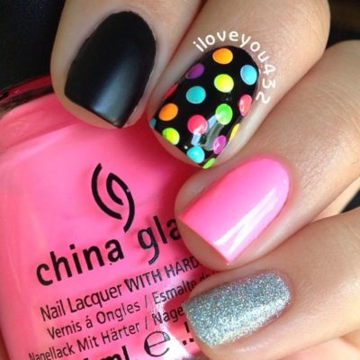 cute-colorful-polka-dots-with-different-patterns-nail-designs