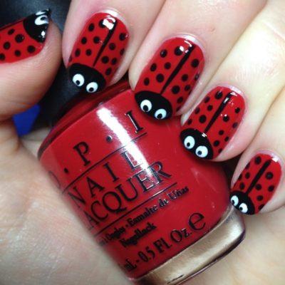 easy cool lady bug nail art design