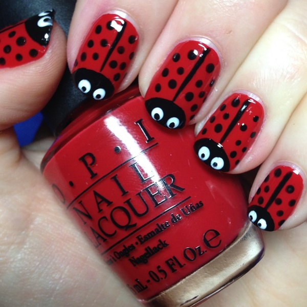 easy cool lady bug nail art design