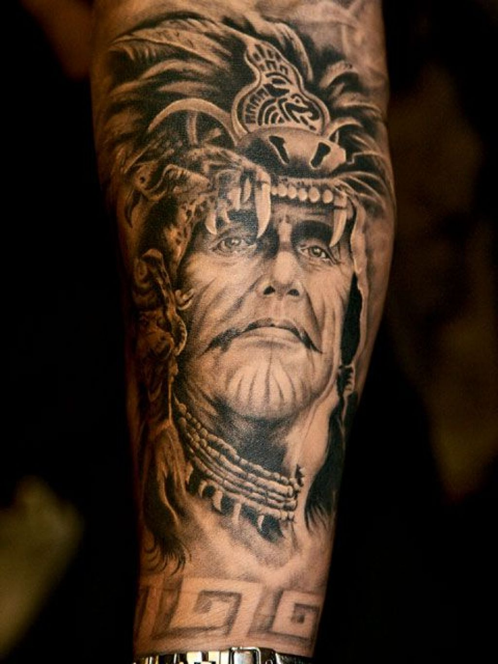 native american warrior tattoo on arm
