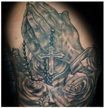 rosary praying hands tattoo