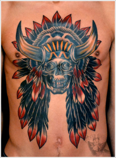 skull tattoo of native americans on chest
