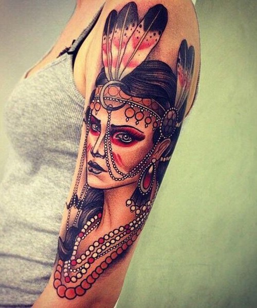 tattoo of Indian women on full sleeve