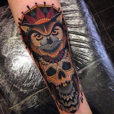Neo-traditional owl tattoo