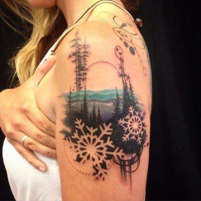 Winter landscape tattoo