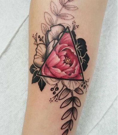 floral rose tattoo with triangle