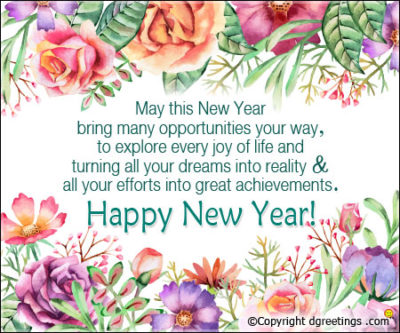 vintage watercolor flower new year wishes background