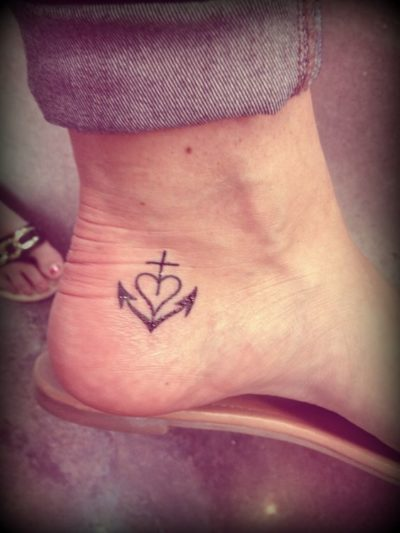 cross heart anchor tattoo