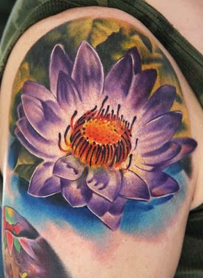 Artistic Large Watercolor September Birth Flower Tattoo on Arm