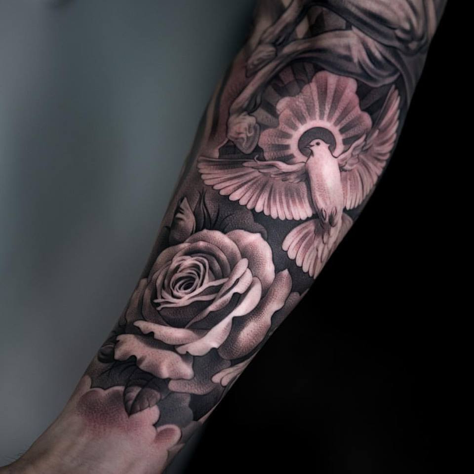 dove rose and horse tattoo portrait on arm