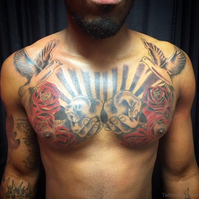 red roses with doves tattoo on chest for men