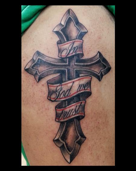 in god we trust with cross tattoo