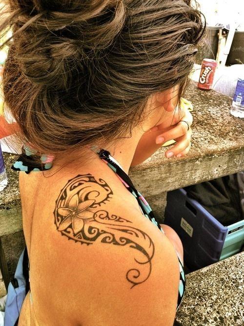 tribal flower tattoo on shoulder