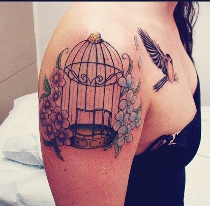 bird cage and flowers tattoo on shoulder for women
