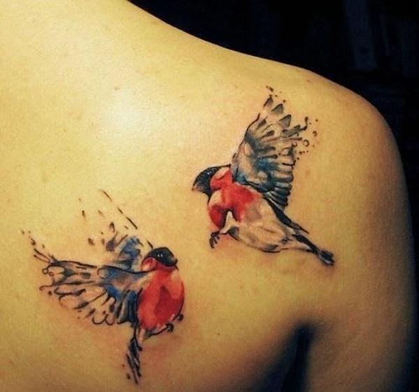 watercolor lovebirds tattoo on back shoulder blade