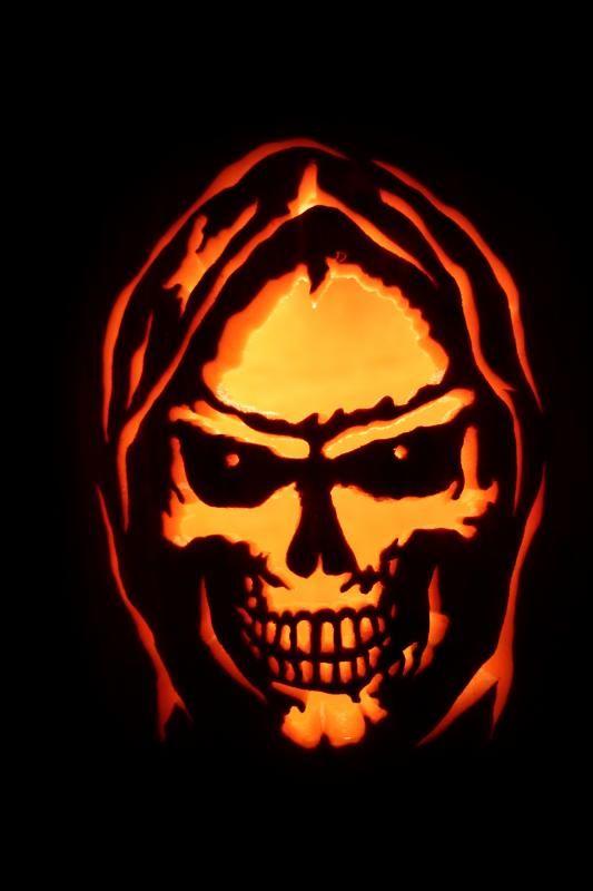 grim reaper face pumpkin carving pattern design ideas for halloween