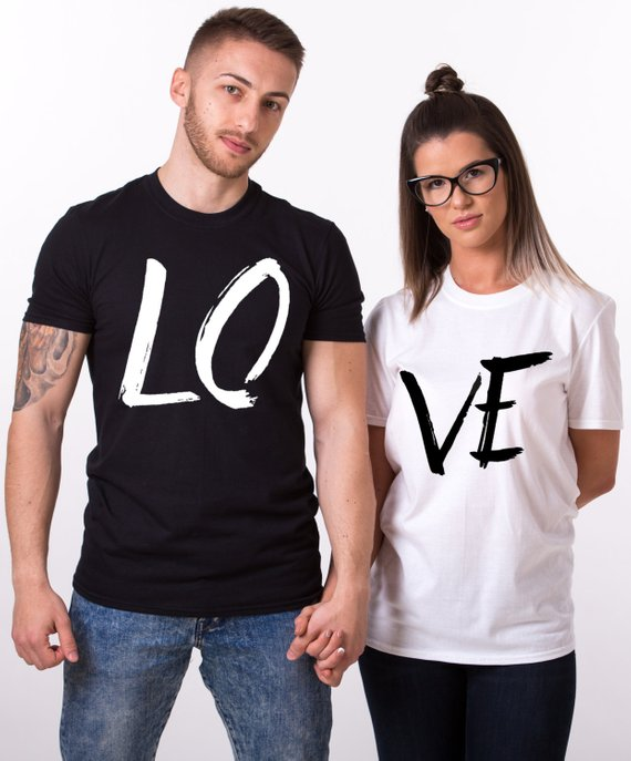 cute matching love text t-shirts outfits for couples