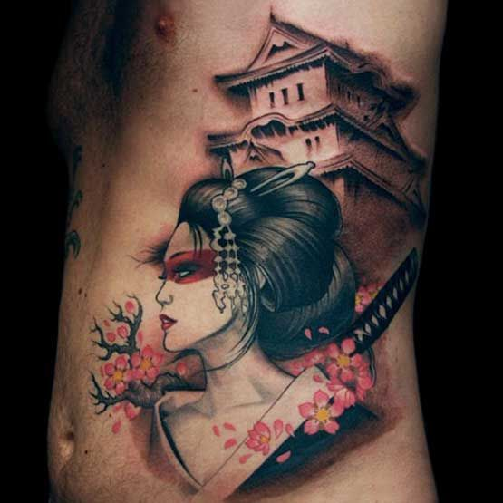 geisha cherry blossom japanese tattoo for men