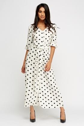black white polka dot maxi dress trends for spring 2019