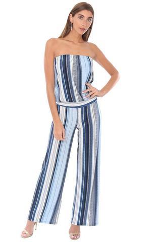 long striped boat neck spring jumpsuit