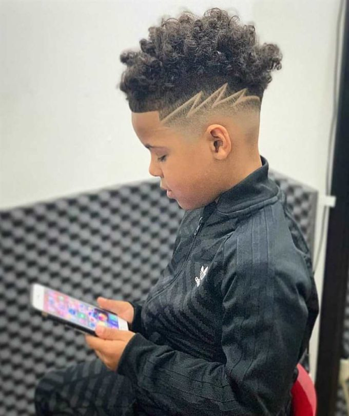 black boy blurry fade haircut design