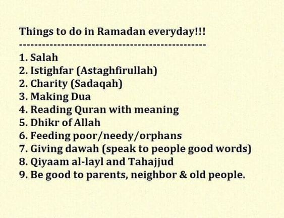 list of good deeds in Ramadan