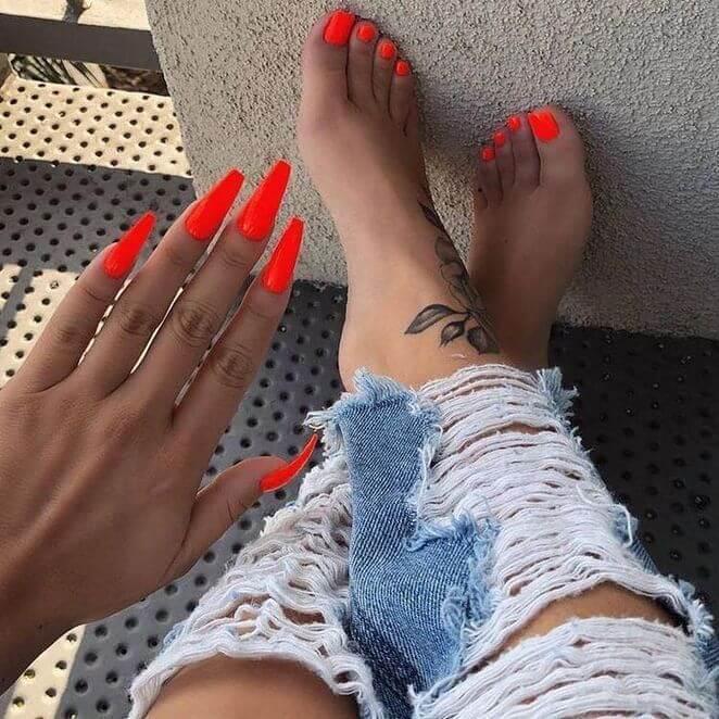 neon orange acrylic coffin nails