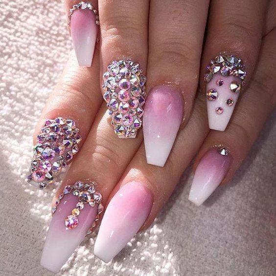 pretty ombre coffin nails with diamonds