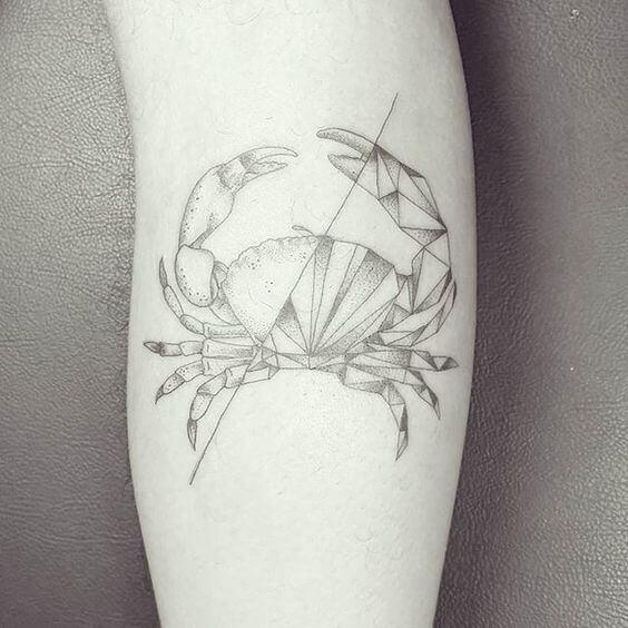 black and white dotwork geometric crab tattoo design