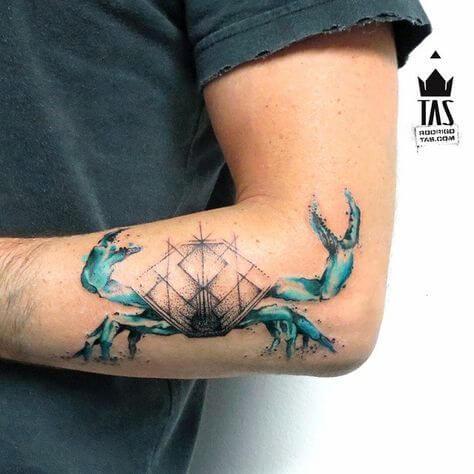 geometric cancer symbol crab tattoo design