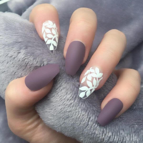 acrylic purple and nude nail s art