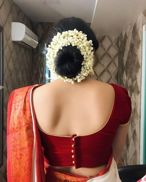back side blouse design with saree