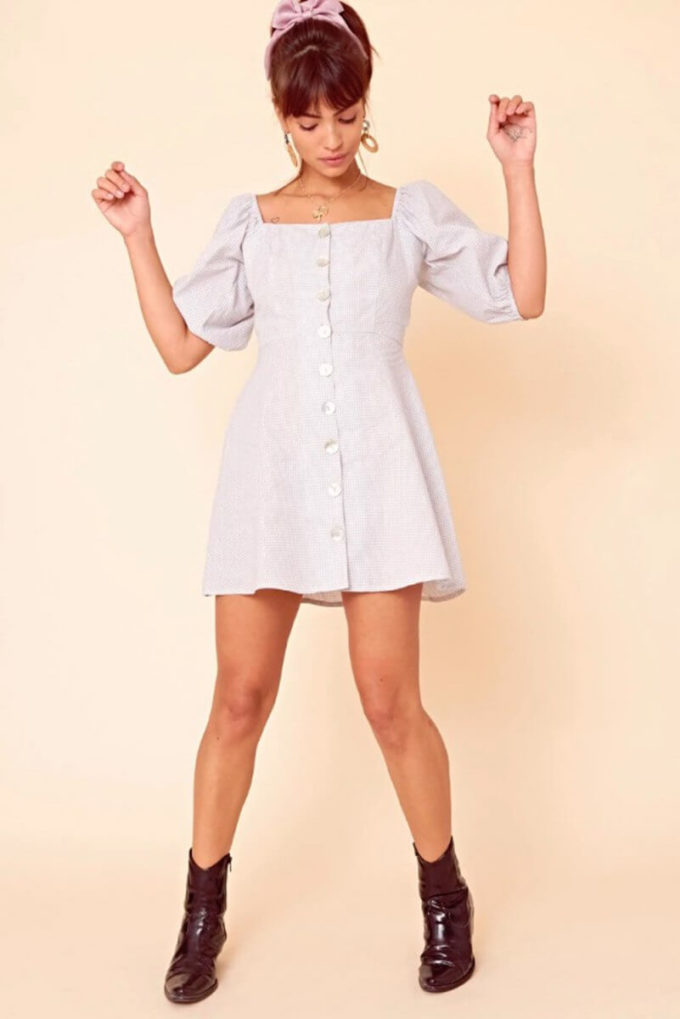 front puff buttons sleeve tea dress outfits for school