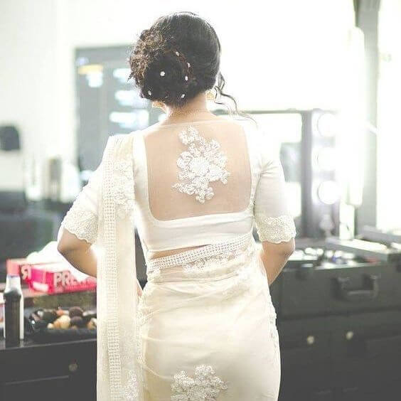 white net blouse designs with saree