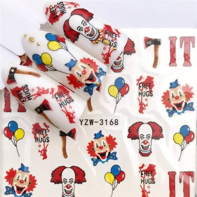 clown nail decals
