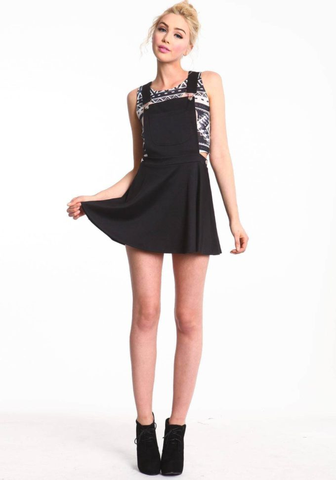 cute black overall skirt outfit ideas for teenage girls