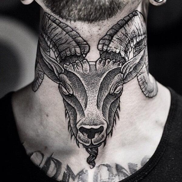 rams head neck tattoo