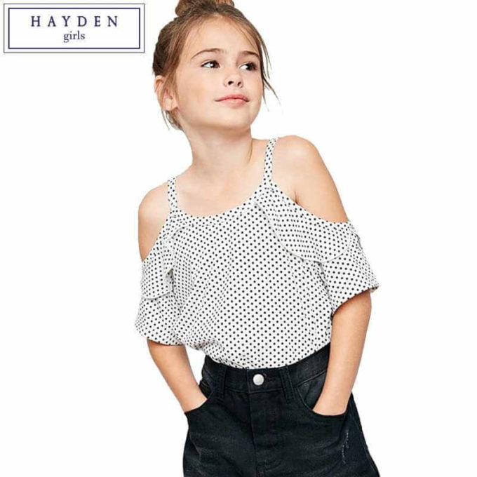 ruffle cold shoulder top outfit ideas for girls