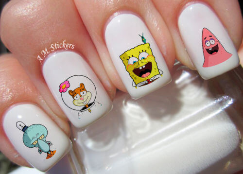 spongebob nail art stickers