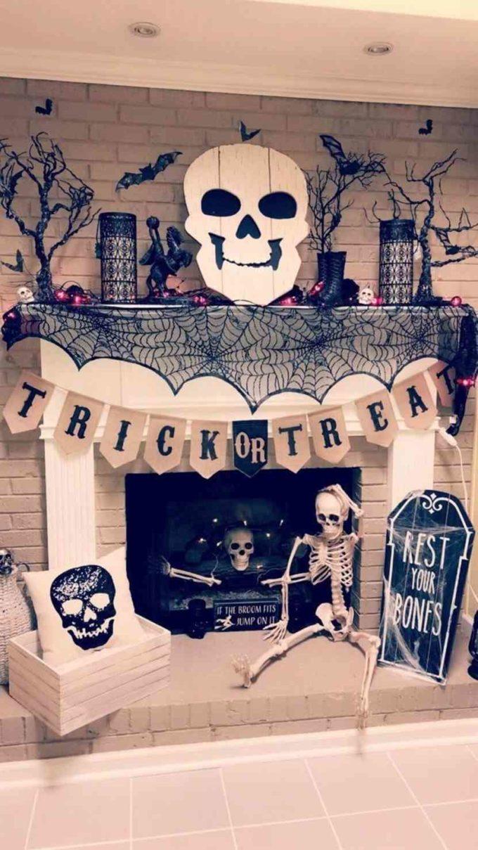 Halloween fireplace interior decoration ideas