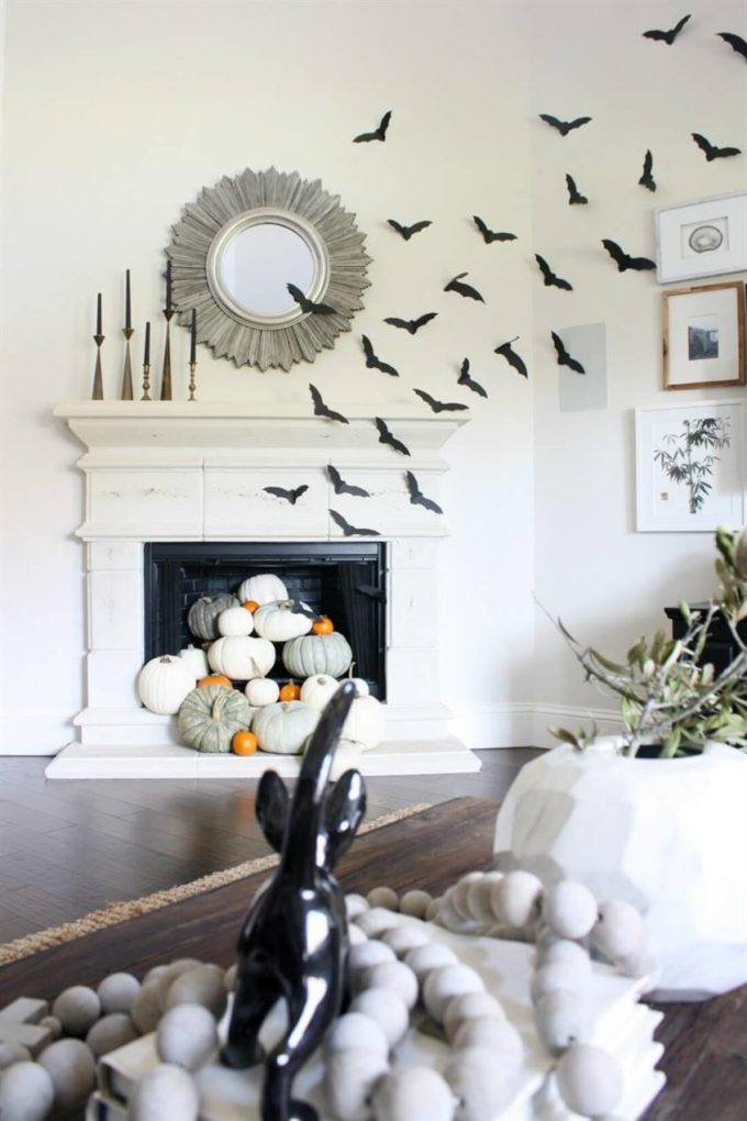 bats coming out of fireplace decor ideas for halloween