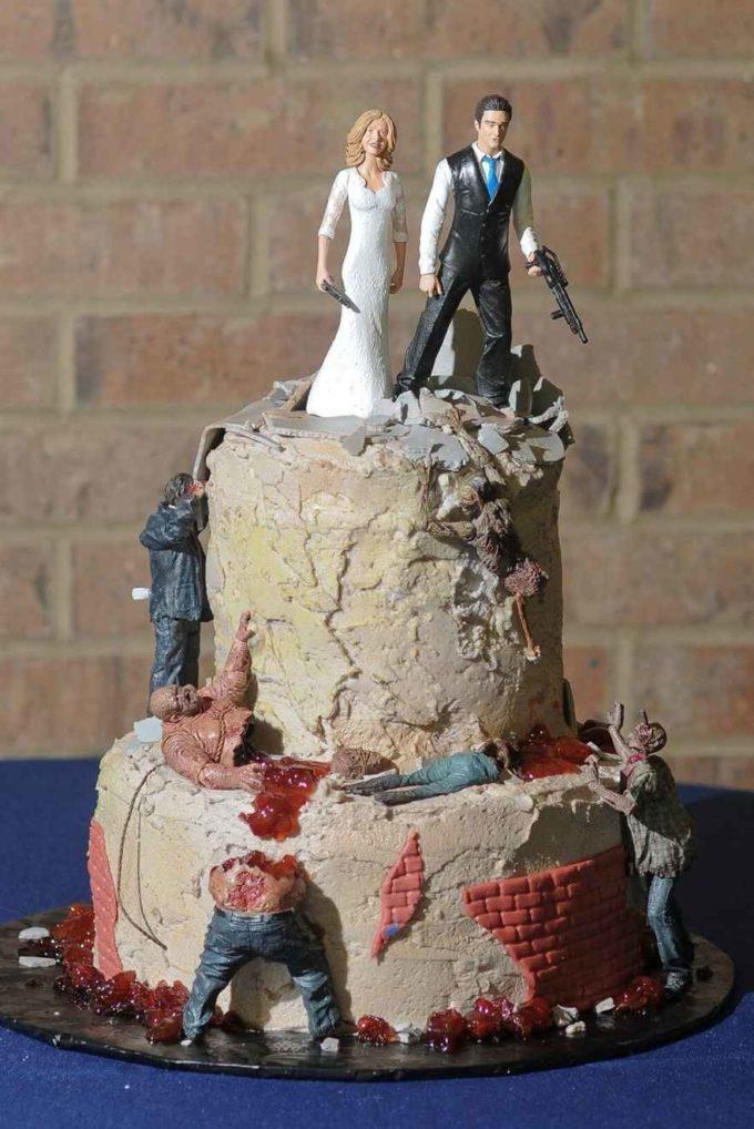 bride and groom zombie shootdown halloween wedding cake