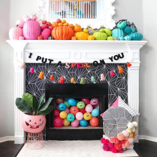 colorful pumpkins halloween fireplace decor