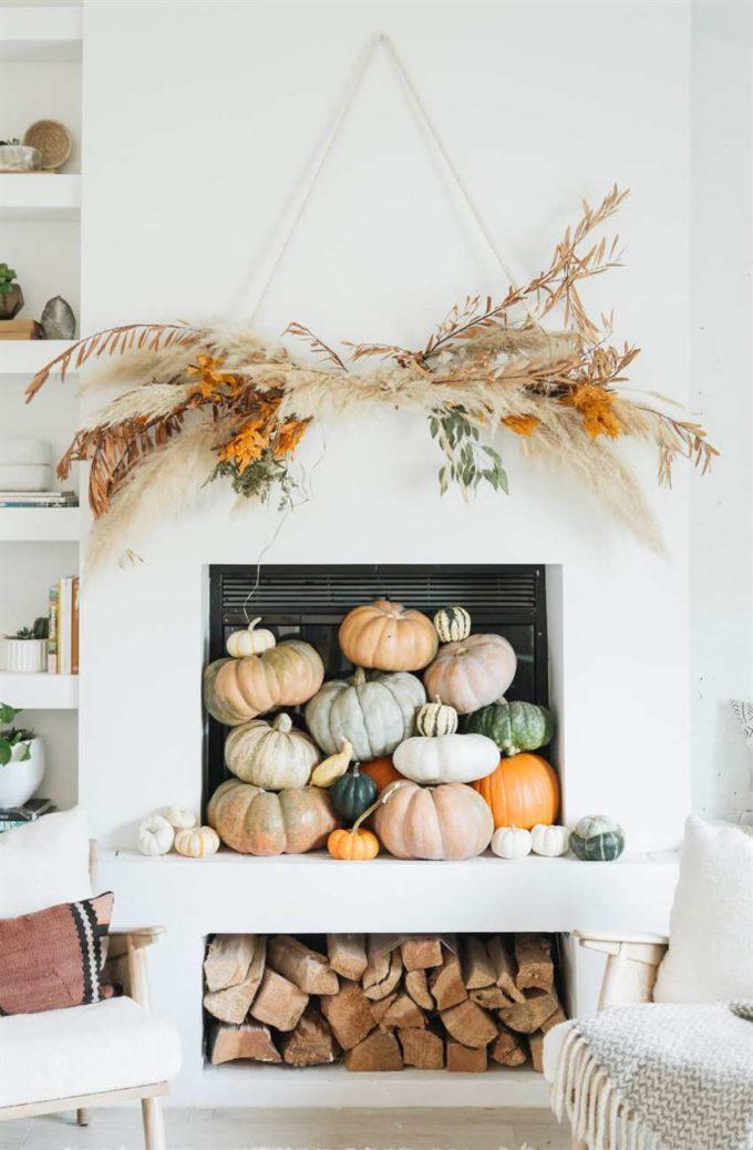 fall pumpkins fireplace decor