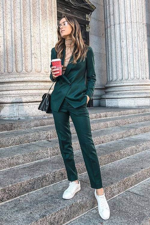 green pant suit outfit ideas for fall