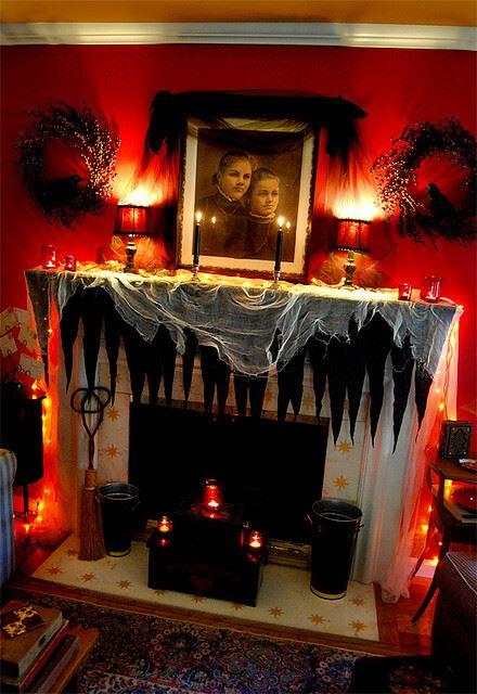 halloween decor for fireplace mantel